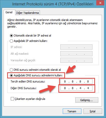 Internet Protokolü Sürüm 4 (TCP/IPv4)