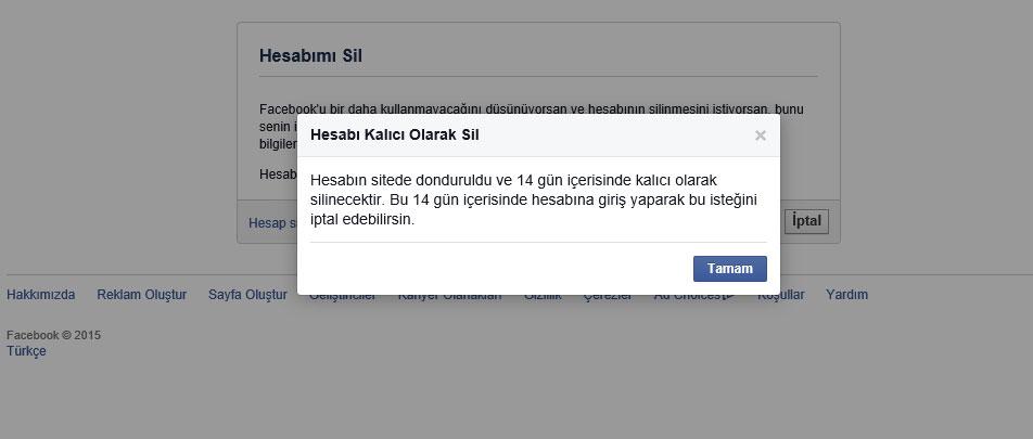 Facebook Hesabı Silme Resim Anlatım