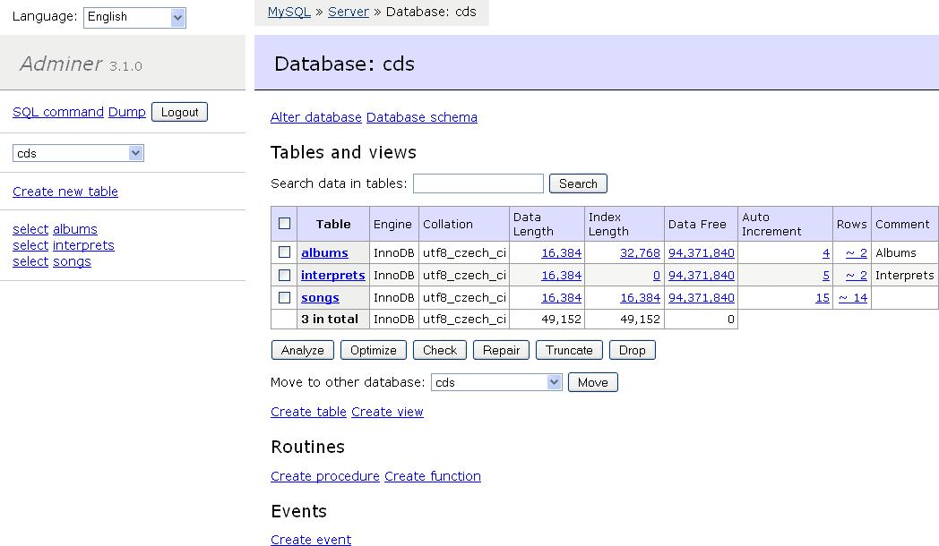 Adminer örnek ekran görüntüsü