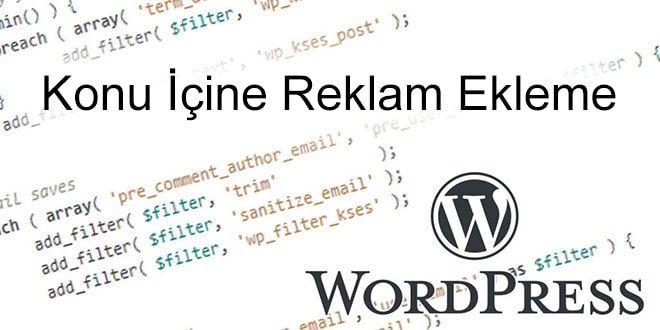 wordpress konu içine reklam
