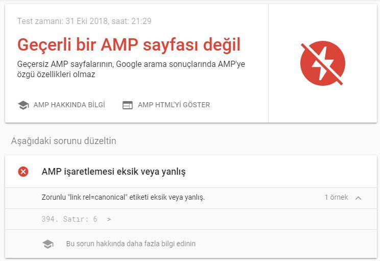 AMP Hataları